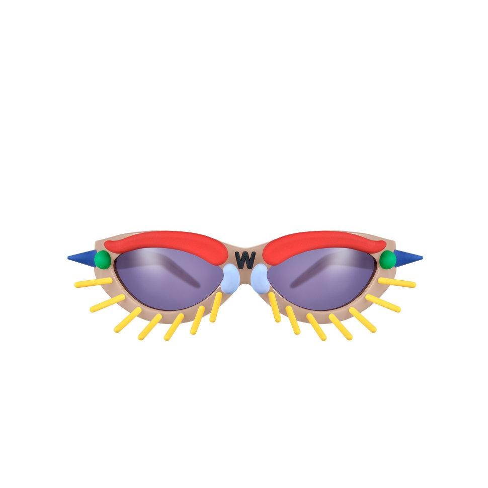 Fakbyfak Eyewear Fakbyfak Sunglasses Fakoshima Eyewear Brand Avant Garde Designer Independent Designer Toy Glasses Model 1. Skin tone with coloured pins