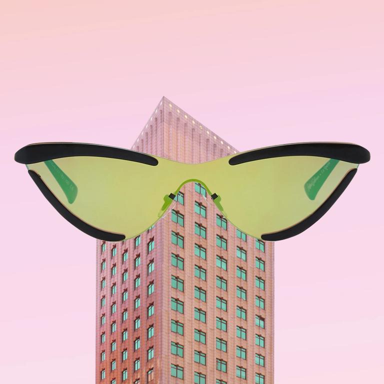 Neon Lime Green Shopping eyewear sunglasses 2019 trend