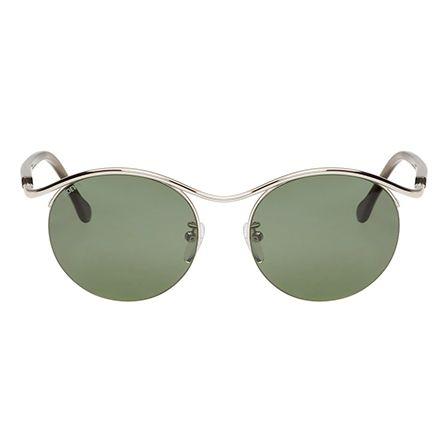 Loewe Silver & Green Gaia Sunglasses 161677F005001
